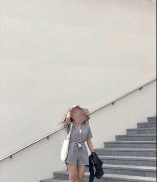 🚚 實穿 黑白格子連身短褲 休閒黑白格紋韓系