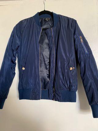 Fashion Nova navy blue bomber