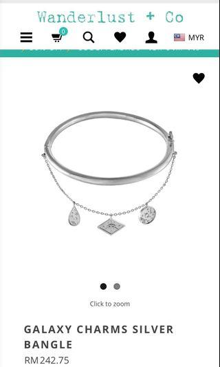 Wanderlust + Co Galaxy Charms Silver Bangle