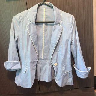 淺藍色西裝外套 light blue shirt jacket
