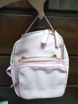 全新@韓國代回荔枝皮革粉嫩桃粉紅貓耳朵隨身後背包