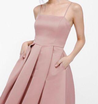 Danfrincha Pleat Midi Dress (Blush color)