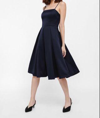 Danfrincha Pleat Mini Dress (Navy Blue color)