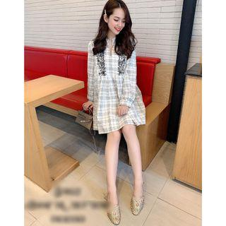 (BN) Embroidery Checked Dress