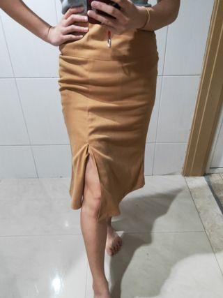 全新@韓系氣質美女素色開叉似麂皮布料過膝包臀裙