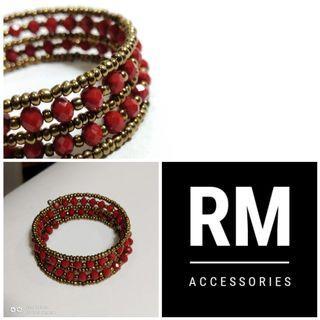 Multistrand Red Doff Crystal Gold Seadbeads Bracelet