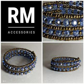 Multistrand Blue Light Crystal and Gold Seadbeads Bracelet