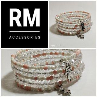 Multistrand White Crystal and Nude Seadbeads Bracelet