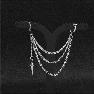 [2 FOR $8] Long Dangle Cone 3 Chains Earring / Clip On (PO)
