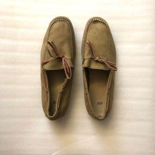 h&m loafers car shoes beige dark green