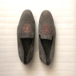 zara grey marl dress velvet loafers shoes