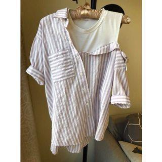 🚚 韓國 假兩件 棉麻粉紫條紋襯衫
