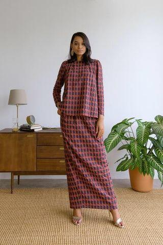 Whimsigirl Hani Set in Red Checks size S