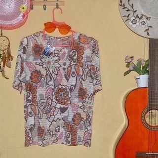 Baju vintage wanita motif bunga bunga
