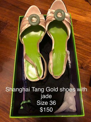 Shanghai Tang shoes with Jade stone circle