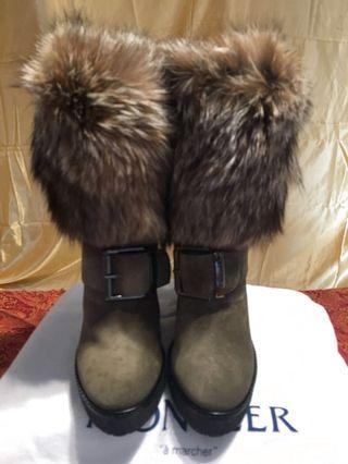 Moncler Brown Marguerite Fox Fur-cuff Wedge Boot Size 38 IT