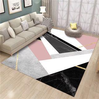 Modern geometric gold pink carpet/rug
