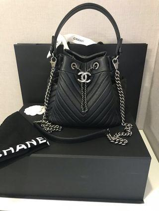CHANEL Small DRAWSTRING BAG in Black Chevron Deerskin with Shiny Ruthenium HW