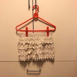 Forever 21 白色合身棉質褲裙