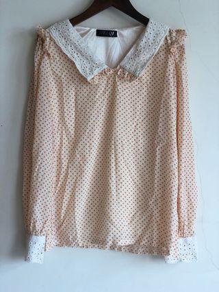 🚚 橘色 點點 蕾絲領口 蕾絲袖口 雪紡 襯衫