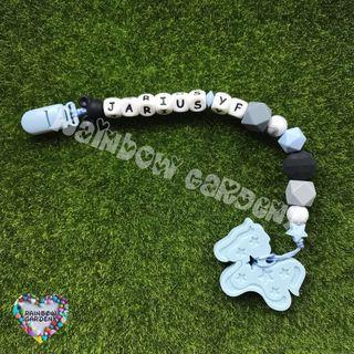 Handmade Pacifier Clip with Customised name letter beads + pastel blue pony Teether
