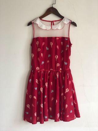 🚚 紅色 熱氣球 洋裝 肩部透膚設計 謝師宴 婚禮 婚宴