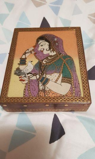 Prachin Gem Stone Painting Wooden Jewellery/ Holder Box from Bangalore India