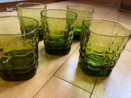 Green designer glasses x 4