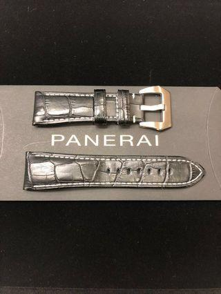 Like New Panerai Black Calf Leather embossed Alligator Strap in Full Stitched complete with Tang Buckle (Lug size:26/22.0 mm)