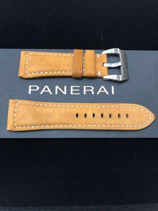 Like New Panerai Light Oak Brown Full Stitched Leather Strap complete with Tang Buckle (Lug size:26/22.0 mm)