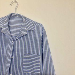 🚚 藍底白條紋襯衫 直條寬鬆 微棉麻小清新 簡約上班實穿款