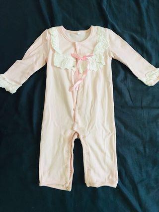 🚚 女寶寶 嬰兒/兒童 進口可愛夢幻純棉透氣連身睡衣 連身褲