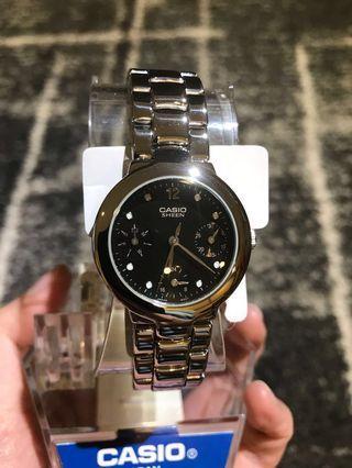 🚚 ❗️出清特價❗️ 全新CASIO Sheen 不鏽鋼鏈帶女錶
