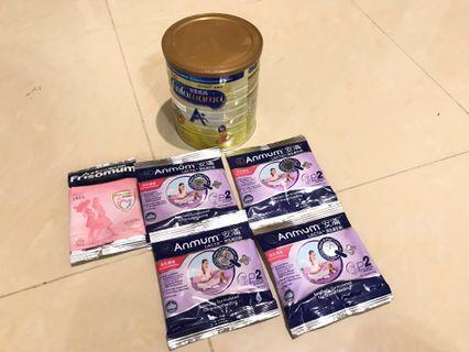 平賣(1罐+5包)孕婦奶粉,授乳期奶粉