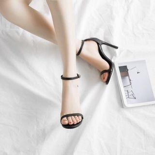 Fashion nudist cowhide real leather Ankle Strap Sandals high Heels