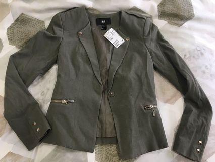 H&M Khaki, military style blazer jacket
