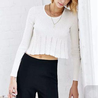 Urban Outfitters Kimchi Blue Long Sleeve Scallop Hem Top