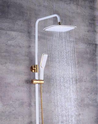 White Brass Shower Set