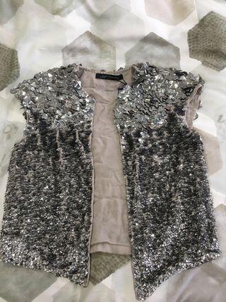 Zara 'Street Tide Silver Bolero' sequin