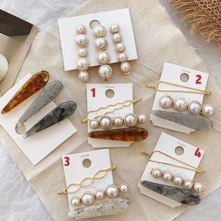 🚚 少量現貨 預購 韓國最夯 氣質珍珠髮夾 劉海夾 一字夾 百搭款髮飾 大理石紋髮夾組合