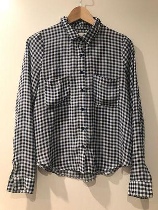 White and nave check shirt size 8