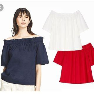 Uniqlo red off shoulder top small