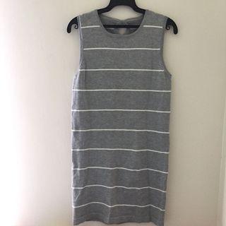 🚚 [僅試穿]針織條紋無袖洋裝