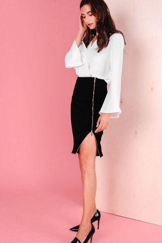 Clearance! Brand New FashMob Zora Gold Zipper Side Slit Skirt Black M