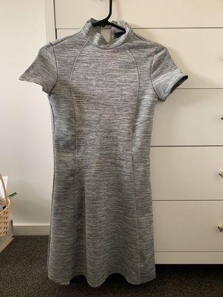 ZARA High neck body con dress - grey/silver size S