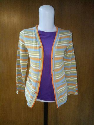 #BAPAU Sweater cardigan stripe dan dalaman ungu