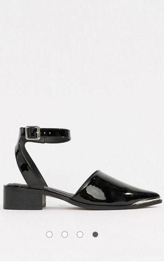 BNIB ASOS DESIGN Mamba Pointed Flats with Ankle Strap UK6