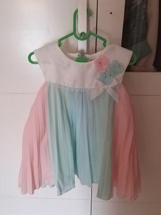 Dress pesta rainbow pastel