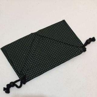 包包 墨綠 點點 手工 文青 純棉束口袋抽繩袋 禮品袋 包裝袋 純棉