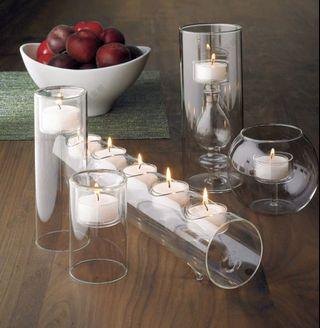 5 piece Delicate glass candle holders